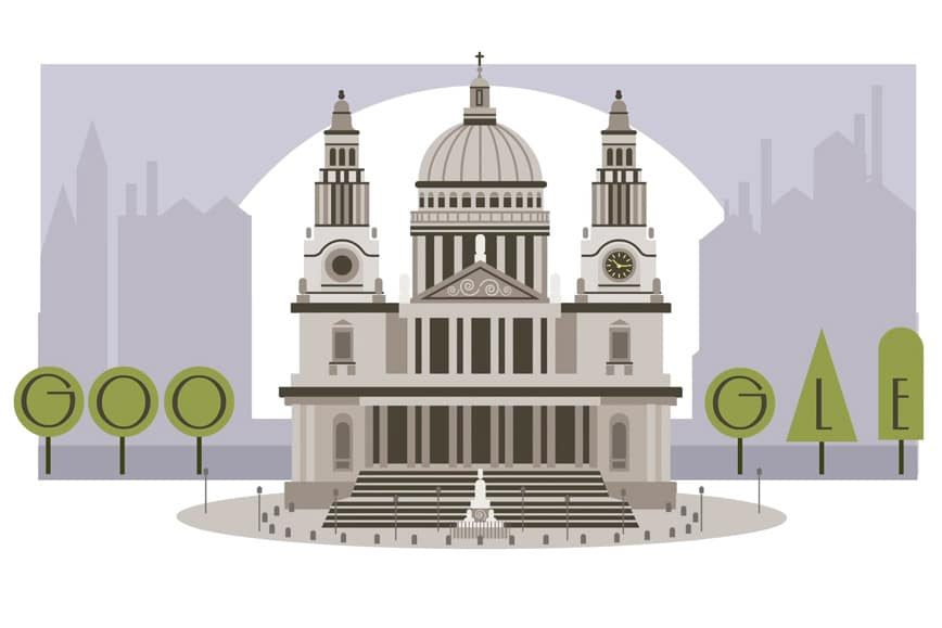 Christopher Wren 382nd Birthday Google Doodle