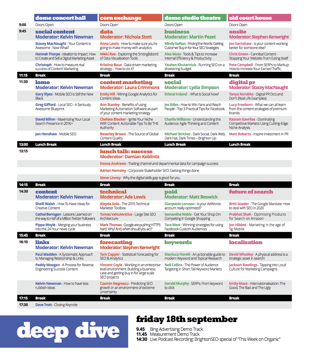 BrightonSEO September 18th Schedule & Speakers
