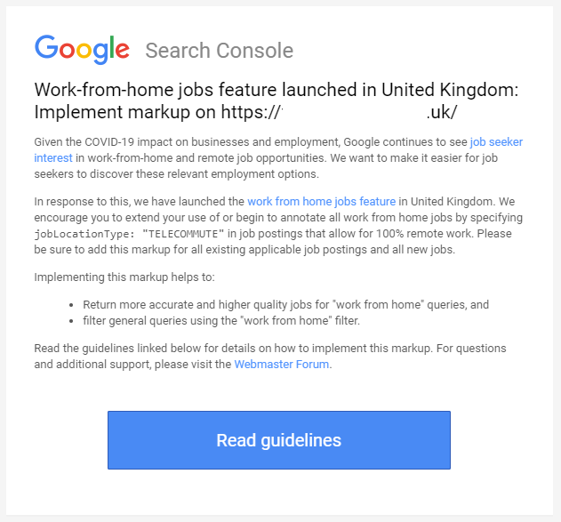 Google's work from home email