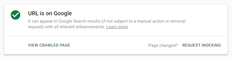 Google Search Console: Request indexing function